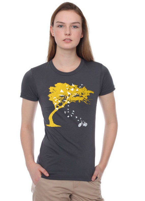 womens birds bicycle and tree- american apparel asphalt gray  t shirt- available in S, M, L and XL- Worldwide shipping