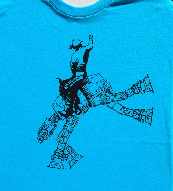 star wars at at cowboy on mens t shirt- american apparel turquoise, available in S,M, L ,XL, XXL- WorldWide shipping