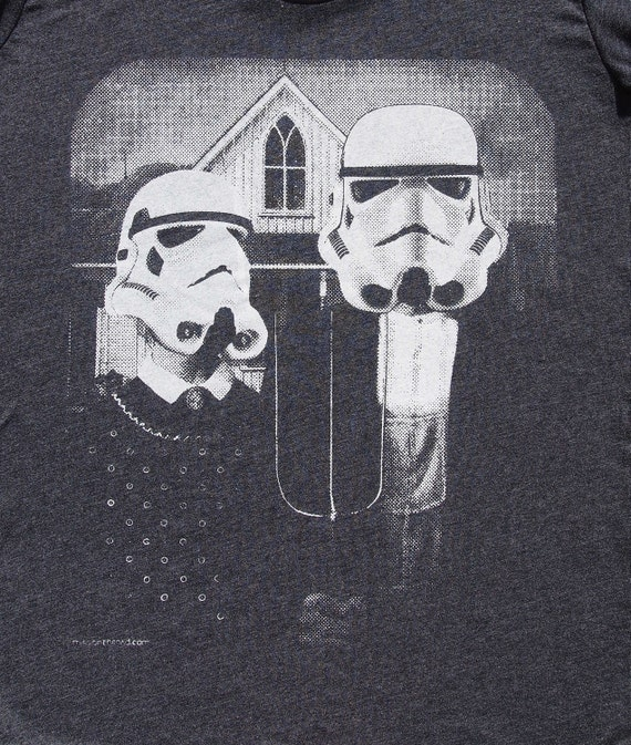 star wars American Gothic parody on womens t shirt- american apparel heather black, available in S,M, L ,XL, Worldwide shipping