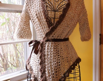Natural Crochet Swallowtail Wrap Jacket with Half Sleeves