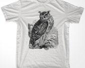 Retro Horned Owl men & ladies t-shirt (id6301)