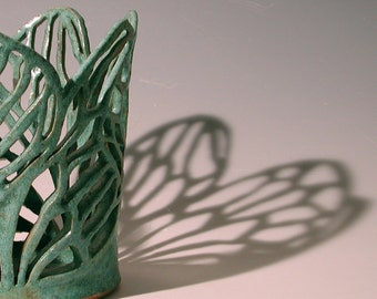 Wings II - Turquoise Ceramic Decorative Vase
