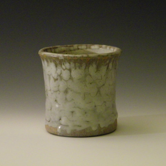 Utensil Crock Kitchen Holder White Spotty Glaze Brush Holder
