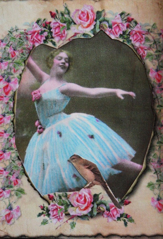 Blue Ballerina-ACEO ATC Card by Posh Alchemy