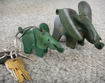 "Elephant - SMALL (2 1/4"" tall) - Handmade Leather Toy"