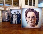 Custom - Set of 3 Wooden Photo Blocks, - reserved for Rhonda