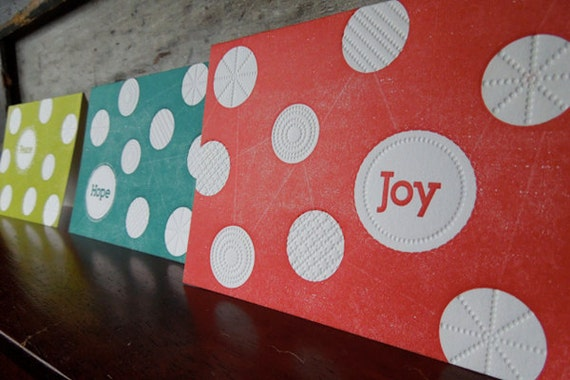 Polka Dot Letterpress Christmas Cards