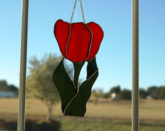 Stained Glass Red Tulip