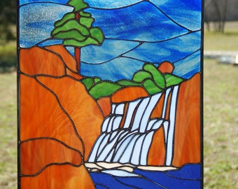 Stained Glass Landscape with waterfall panel