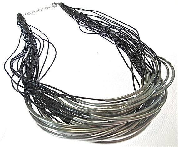 Silver Slivers necklace  (N174)