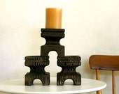 Candle Holder Set of Three Mid Century Beautiful Faux Bois Ceramic Japanese