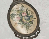 Italian Silk Picture in Antiqued Metal French Styled Frame