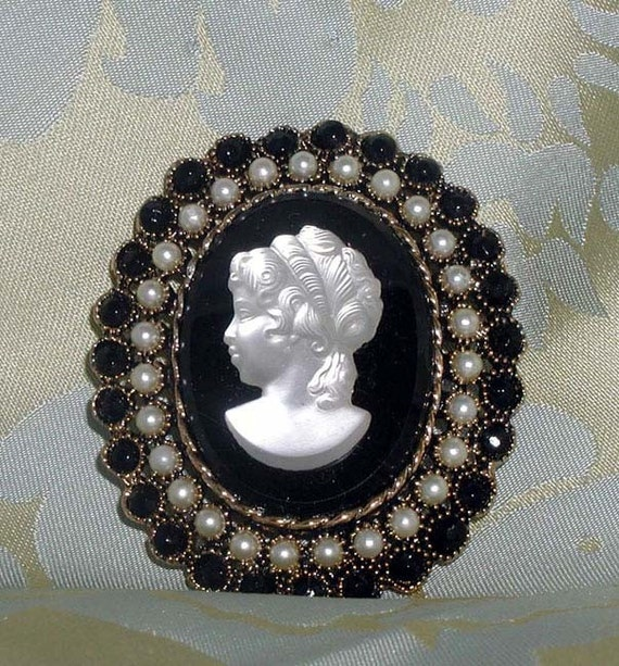 For Barbara: Moonstone Cameo on Black With Pearls and Faceted Black Stones
