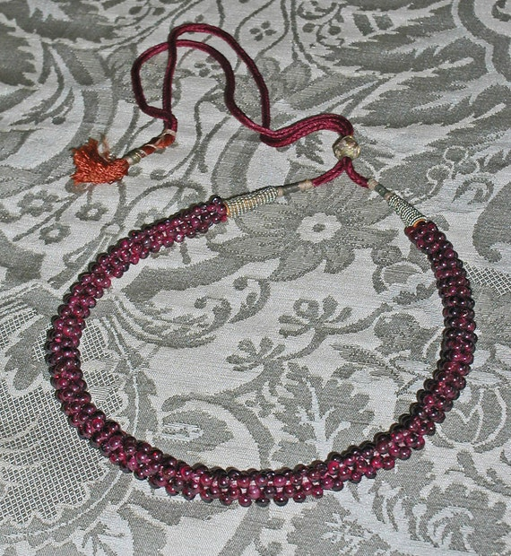 HOLD for Erin - Genuine Garnet Rope Beads Necklace With Adjustable Cord
