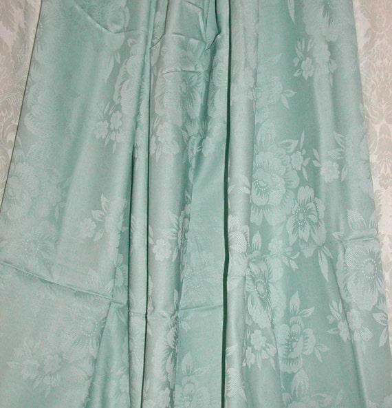 "Aqua Damask Cotton Dressmaking Fabric 55"" Wide - 3 Yards"