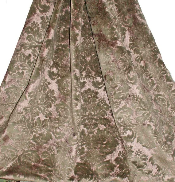 "HOLD for Cindy: Venetian Style Cotton Viscose Damask Weave Velvet in Taupe and Pale Amethyst 2 1/2 Yards 59"" Wide"