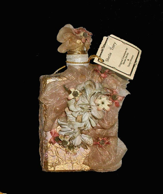 Sheila Davlin Faux Papier Victorian Perfume Bottle With Original Tag