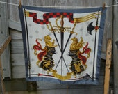 vintage silk grey, gold, white armes du xv siècle scarf (weapons of the 15th century)
