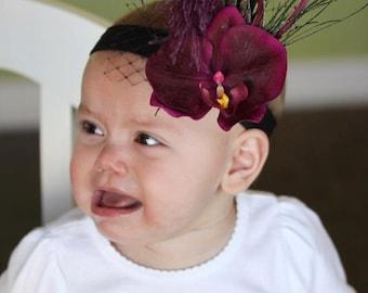 Baby vintage inspired 'Meryl' flapper plum fuschia purple eggplant orchid feather fascinator headband or brooch new born photography prop