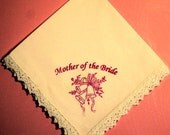 50% Discount: Mother of the Bride Gift Handkerchief-Screen Printed in Hot Pink.