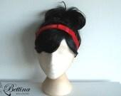 Red velvet headband with bow. Comfy headband. Handmade by Bettina Millinery.
