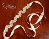 Retro chic - Pearl and ivory beaded headband or belt on satin sash. Handmade by Bettina Millinery.