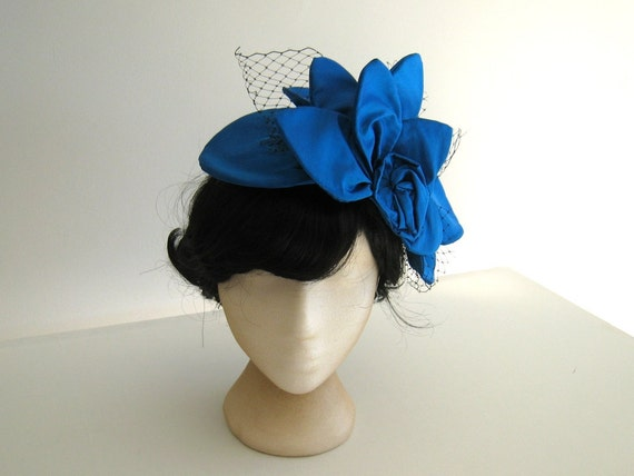 Cocktail hat - hand made peacock blue silk cocktail hat fascinator