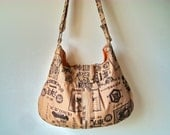 Large canvas shoulder bag / messenger with 5 pockets, Japanese retro print