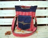 Bohemian denim and studs 4 way messenger with leather handle