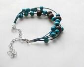 Wood bead Bracelet, teal & burgundy bracelet