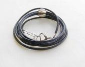 Leather bracelet, charm bracelet, navy, black, spring fashion, pandora bracelet, hipster jewelry, leather infinity bracelet