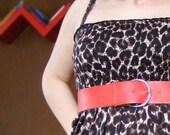 Eco leather waist belt, red, wide, hippie vintage accessories, fashion