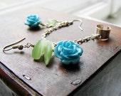 Ear cuff earring, chain, rose, fairy earrings and ear cuffs chain wrap