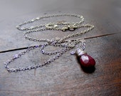 SALE Genuine ruby necklace, red ruby pendant, wire wrapped gemstone pendant, july birthstone, sterling silver ruby jewelry