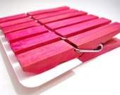 Medium Clothespins Magenta . 6 pcs . Medium 2.37 inch (6 cm) . Wooden Pegs