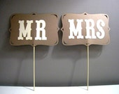 Mr and Mrs Signs Photo Booth Props - Set of 2