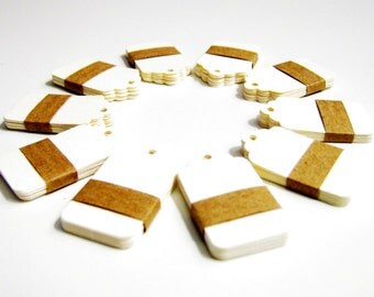 Set of 50 Price Tags - Ivory - Small 1,57 x 1 inch (4 cm x 2,5 cm)