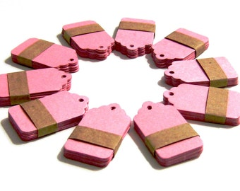 Set of 50 Price Tags - Pink - Small 1,57 x 1 inch (4 cm x 2,5 cm)