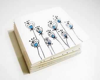 8 Mini Note Cards Flowers Spring Time - Set of 8