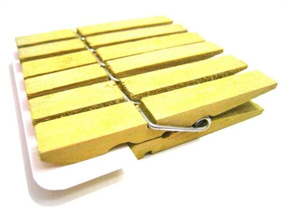 Medium Clothespins Lemon Yellow . 6 pcs . Medium 2.37 inch . Wooden Pegs
