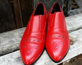 Vintage deadstock RED western ankle boots