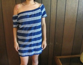 Vintage off shoulder dress in navy blue with white TRIBAL PRINT
