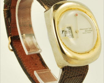 "Swiss ""digital"" vintage wrist watch, yellow gold-filled & stainless steel oblong case"