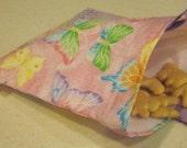 Reusable Snack Bag - Glitter Pink Butterflies
