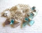 sea glass bracelets reserved for Cherish four genuine sea glass bracelets in lavender, light blue, sea foam and white