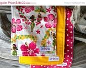 Hawaiian Hula Girl - Baby Burp Cloth Set - Fabrics: Hula Girls, Pineapple Mixmasters, Hot Pink Polka Dot