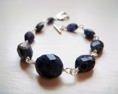 Deep purple Iolite Bracelet with Sterling Silver Clasp