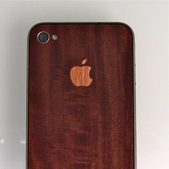 iCarbons Dark Wood Grain IPhone 4 Skin FULL COMBO