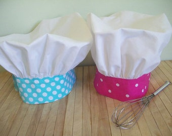 Girls/ Boys Chef Hats, Adustable Custom Sizing, Made to match your Apron, Kids, Toddler, Teen & Adult.