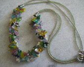 SALE -Spring Flowers, Lady bugs, Multi colored leaves Celebrate Summer Fringed Beadwoven Necklace